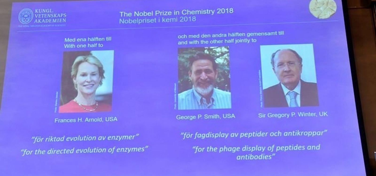 Três pesquisadores ganham Nobel de Química com estudo de proteínas
