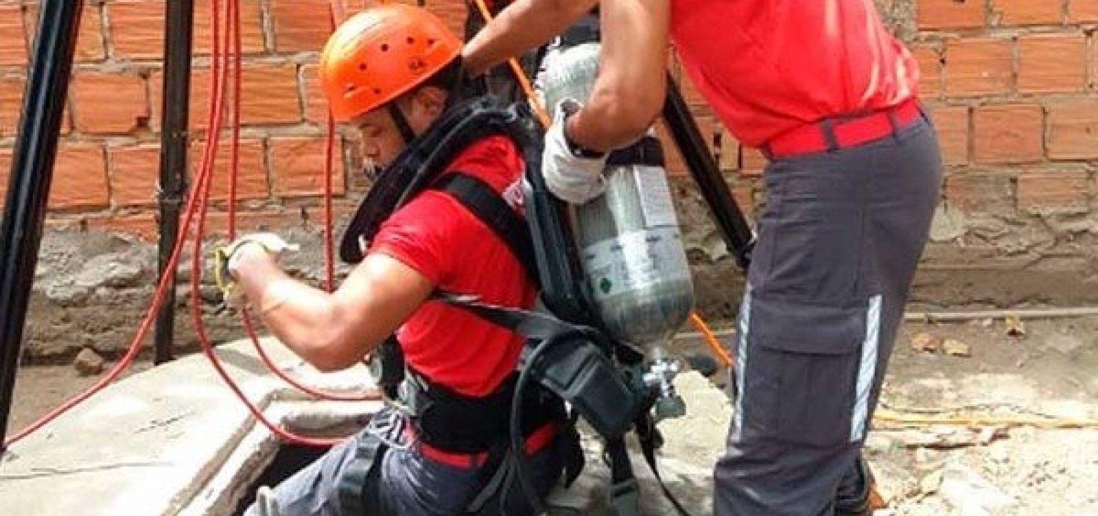 Feira: homem é resgatado de poço após passar a noite a 30 metros de profundidade