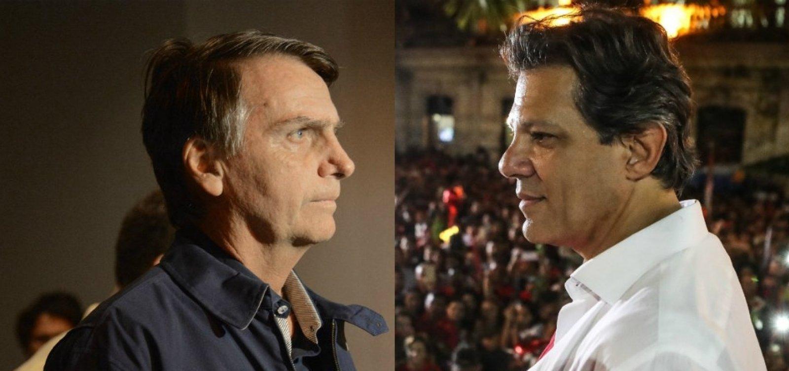 Datafolha aponta Bolsonaro com 58% e Haddad com 42%