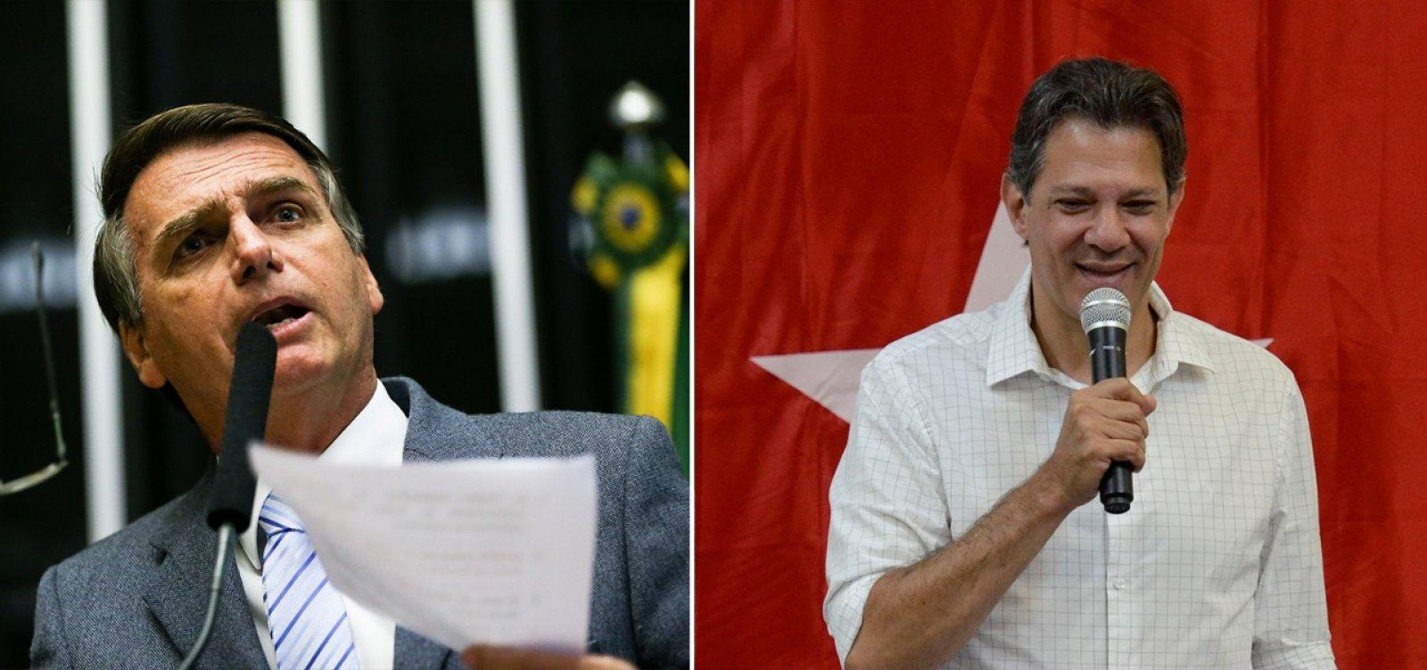 Ibope: Bolsonaro aparece com 57%; Haddad tem 43%