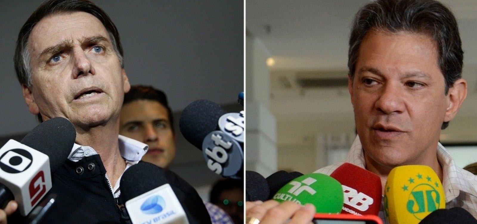 Haddad ultrapassa Bolsonaro na cidade de São Paulo, aponta Ibope
