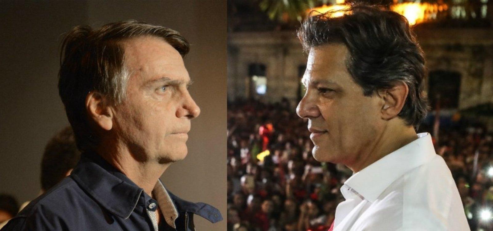 Datafolha: Bolsonaro aparece com 56%; Haddad tem 44%