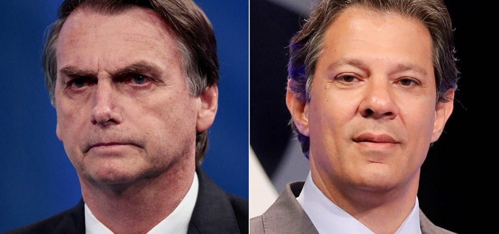 Último Ibope antes da eleição mostra Bolsonaro com 54% e Haddad, 46%
