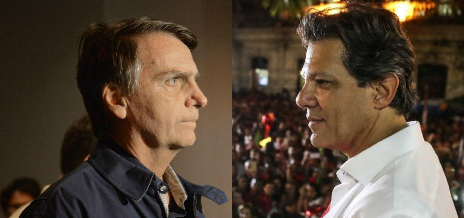 Datafolha para presidente: Bolsonaro, 55%; Haddad, 45%
