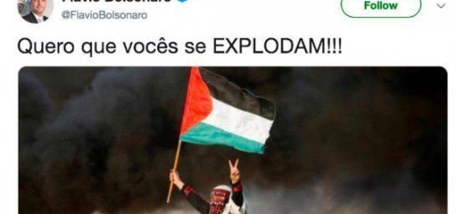 Hamas rebate Flávio Bolsonaro e o chama de 'filho de extremista'
