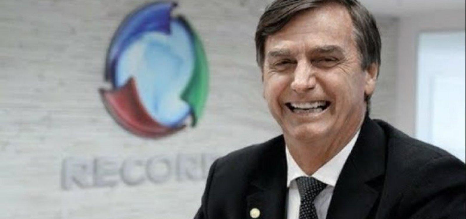 Bolsonaro gasta 63% a mais com publicidade; Record supera Globo