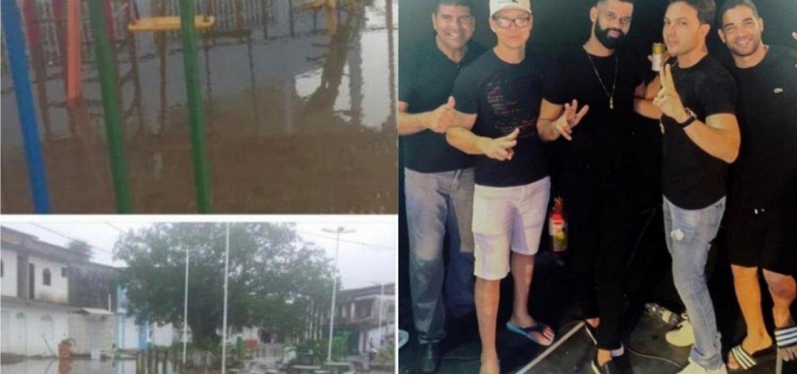 Em meio a chuvas e alagamentos, prefeito de Vera Cruz cai na balada