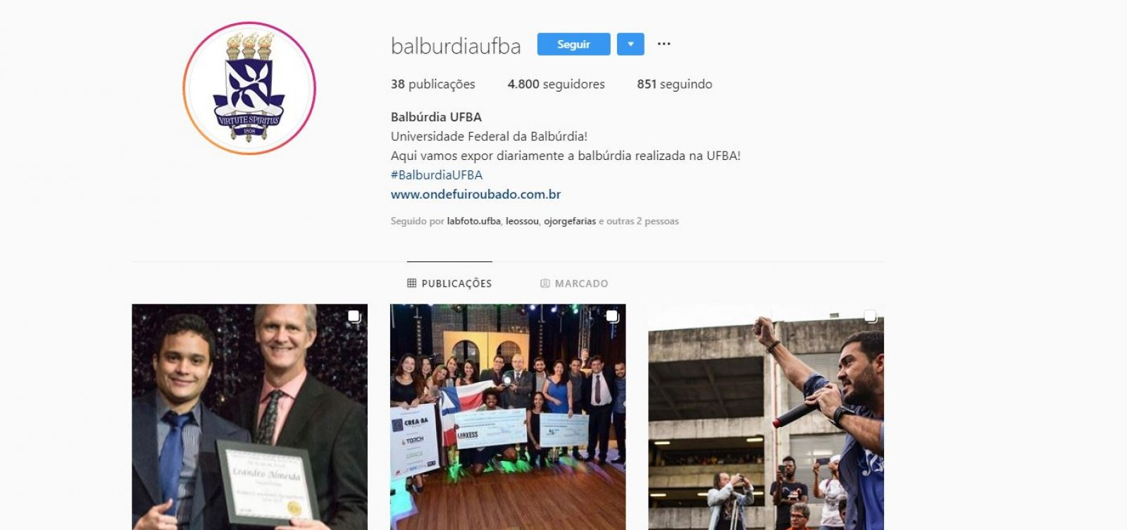 'Balbúrdia na Ufba': perfil reúne sucesso acadêmico de estudantes