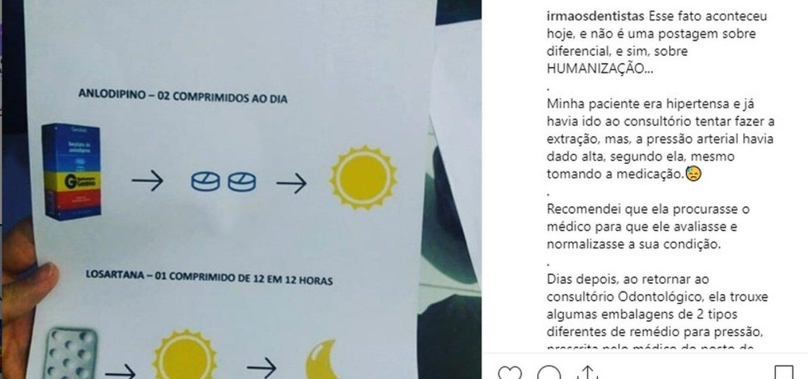 Dentista faz receita ilustrada para paciente analfabeta
