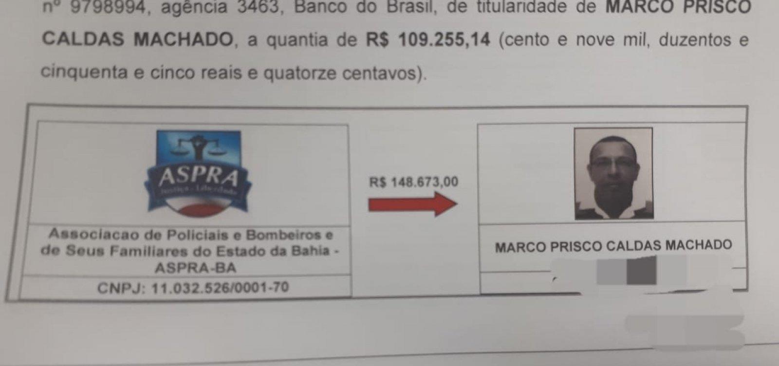 Investigação aponta transferências de R$ 148 mil das contas da Aspra para Prisco