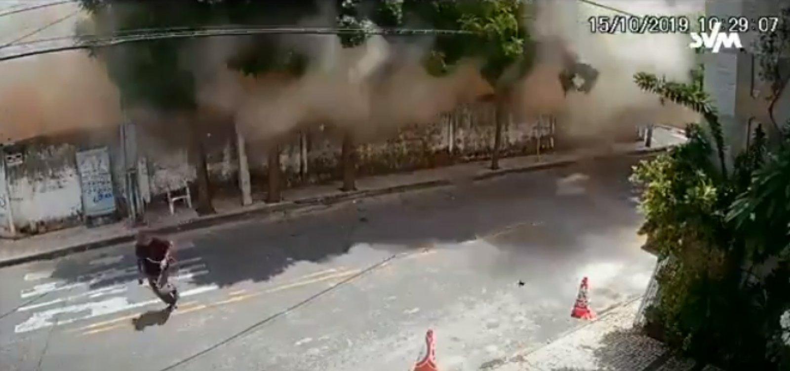 Novo vídeo mostra momento exato em que prédio desaba em Fortaleza