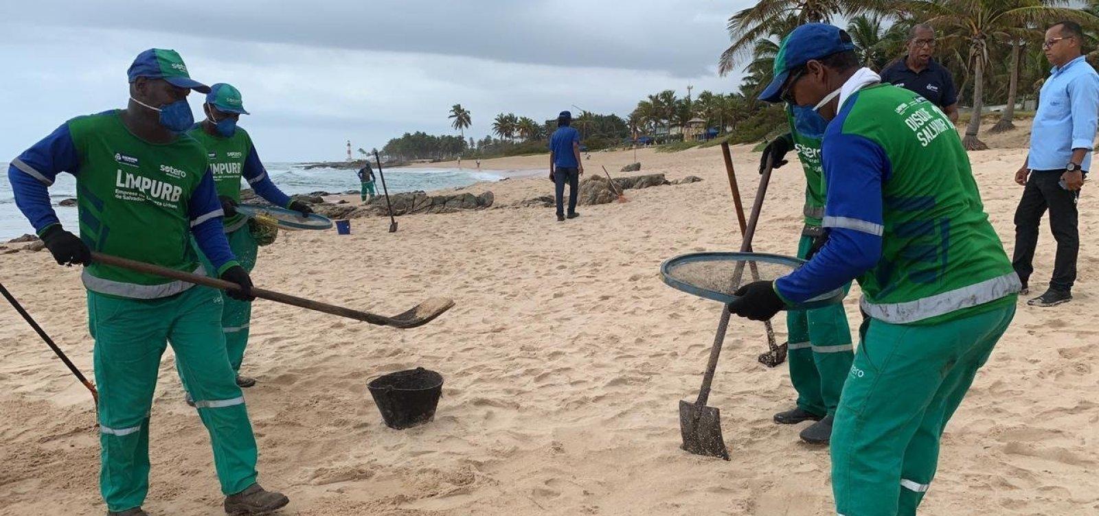 Prefeitura retira quase 105 toneladas de óleo das praias de Salvador