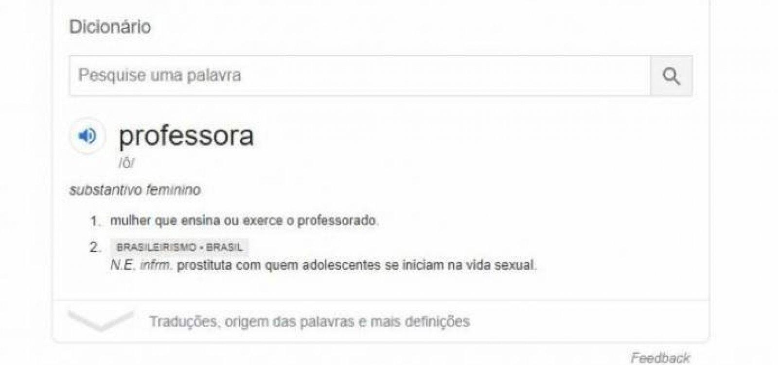 Google tira definição de professora como 'prostituta' do dicionário