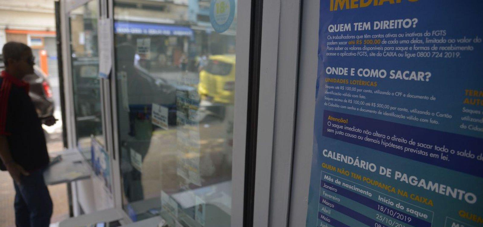 Agências da Caixa abrem hoje para pagamento do FGTS