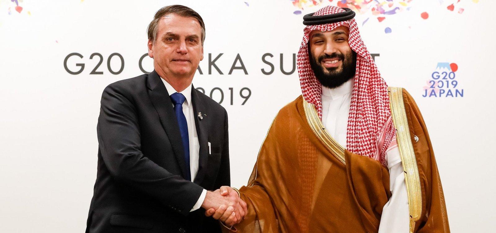Bolsonaro diz ter 'afinidade' com príncipe saudita e recomenda encontro a mulheres