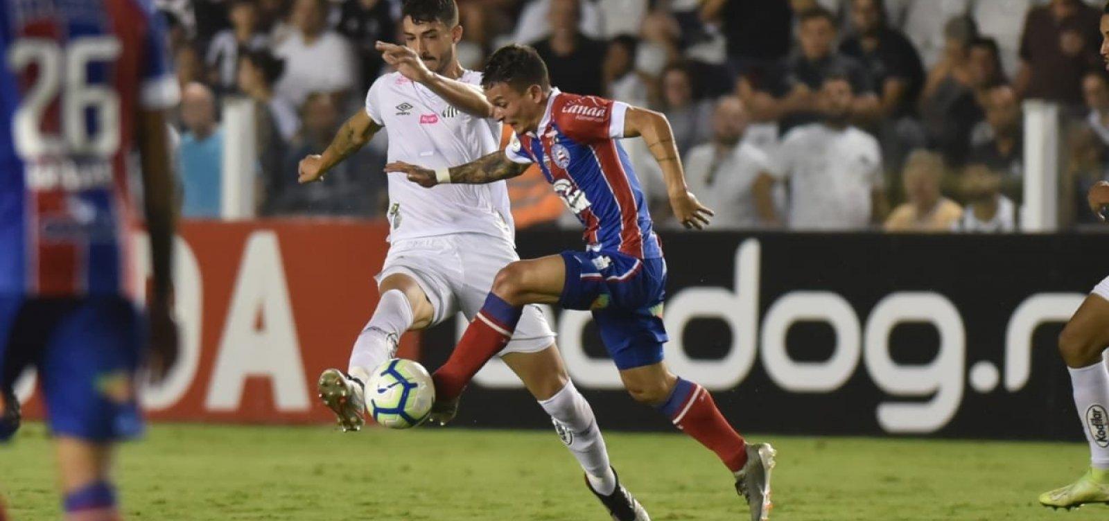 Bahia perde para o Santos e soma terceira derrota consecutiva na Série A