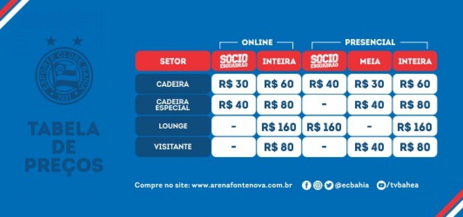 Bahia inicia venda de ingressos para jogo contra a Chapecoense