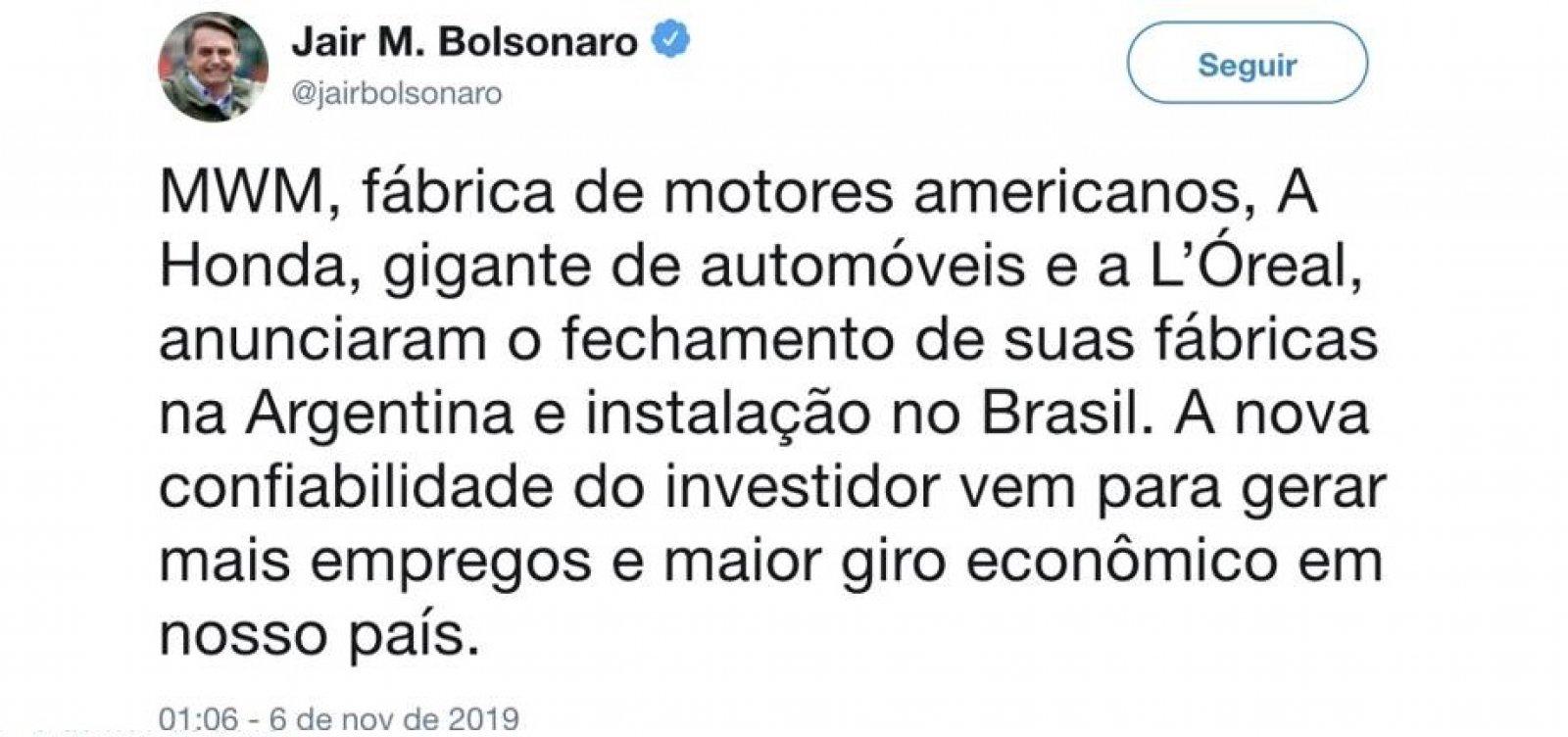 Bolsonaro diz que empresas deixarão Argentina e apaga publicação depois