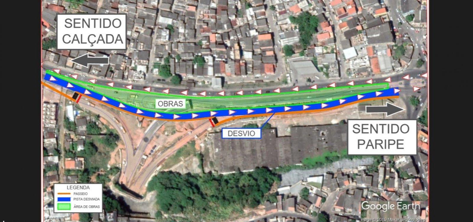 Obras da Ligação Lobato-Pirajá desviam tráfego na AvenidaSuburbana a partir de amanhã
