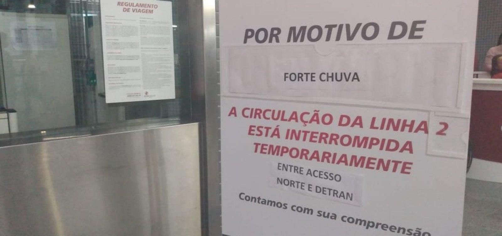Linha 2 do metrô de Salvador volta a funcionar após alagamento