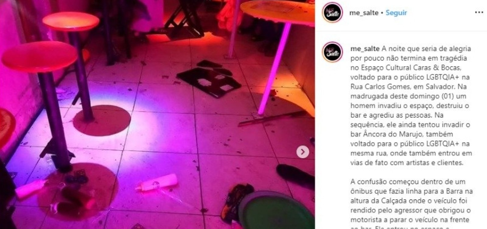 Homem causa confusão em ônibus e ataca pessoas em bar LGBT no centro
