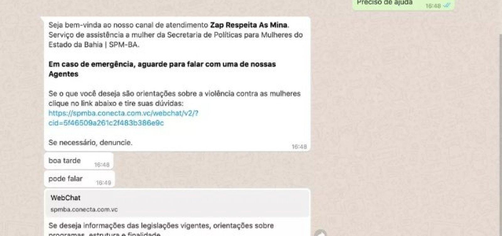 'Zap Respeita as Mina': inteligência artificial recebe denúncias de mulheres vítimas de violência na Bahia